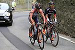 Giacomo Berlato (ITA) Nippo-Vini Fantini and Cesare Benedetti (ITA) Bora-Argon 18 tackle the final climb of Superga near the finish of the 2015 96th Milan-Turin 186km race starting at San Giuliano Milanese, Italy. 1st October 2015.<br /> Picture: Eoin Clarke | Newsfile