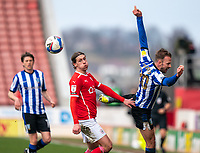 20th March 2021, Oakwell Stadium, Barnsley, Yorkshire, England; English Football League Championship Football, Barnsley FC versus Sheffield Wednesday; Callum Brittain of Barnsley facial expression after the challenge with Jordan Rhodes of Sheffield Wednesday