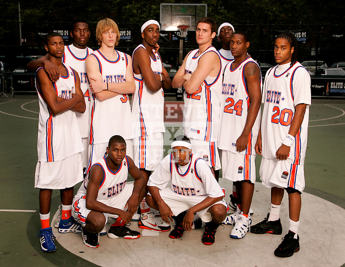 """""""The Goat"""" squad on September 1, 2006 at Rucker Park in New York, New York.  Pictured standing left to right are Dexter Strickland, Rick Jackson, Kyle Singler, Donte Greene, Kevin Love, J.J. Hickson, Corey Stokes and Chris Allen.  Pictured squatting are Erving Walker and Brandon Jennings.  The players were in town for the Elite 24 Hoops Classic, which brought together the top 24 high school basketball players in the country regardless of class or sneaker affiliation."""