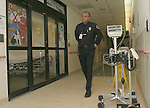 WATERBURY, CT-27January 2005-012705TK06 Herb Raines of St. Mary's security office patrols a corridor in the Emergency Room. Tom Kabelka staff photo (Herb Raines, St. Mary's, security office)