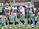 Dallas Cowboys guard David Arkin (62) , Dallas Cowboys tackle Ronald Leary (65) and Dallas Cowboys offensive tackle Jermey Parnell (78) in action during the pre- season game between the Miami Dolphins and the Dallas Cowboys at the Cowboys Stadium in Arlington, Texas. Dallas defeats Miami 30 to 13...