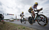 Bram Tankink (NLD/LottoNL-Jumbo) & Laurens ten Dam (NLD/LottoNL-Jumbo) lost touch with the rest of the team and tandem up to the finish<br /> <br /> stage 9: TTT Vannes - Plumelec (28km)<br /> 2015 Tour de France