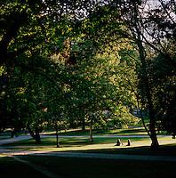 People enjoying sunshine in a park in Stockholm, Sweden