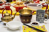 Yangzhou, Jiangsu, China.  Ye Chun Tea House.  Place Setting for Breakfast:  Tea, Tea Cup, Soup Bowl, Food Bowl, Chopsticks.