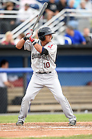 Mahoning Valley Scrappers third baseman Yonathan Mendoza (10) at bat during a game against the Batavia Muckdogs on June 20, 2014 at Dwyer Stadium in Batavia, New York.  Batavia defeated Mahoning Valley 7-4.  (Mike Janes/Four Seam Images)