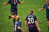The USA celebrates a goal by Abby Wambach.  The USA captured the 2010 Algarve Cup title by defeating Germany 3-2, at Estadio Algarve on March 3, 2010.