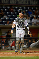 Pensacola Blue Wahoos catcher Ryan Jeffers (8) during a Southern League game against the Mobile BayBears on July 25, 2019 at Blue Wahoos Stadium in Pensacola, Florida.  Pensacola defeated Mobile 3-2 in the second game of a doubleheader.  (Mike Janes/Four Seam Images)