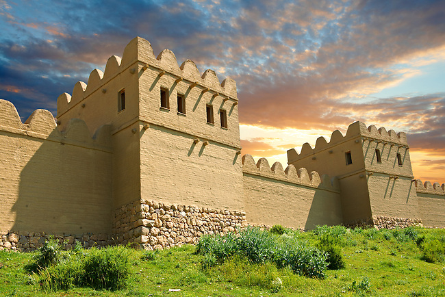 Hattusa city walls & towers reconstruction. Pictures of Hattusa Hittite Archaeological Site, Turkey
