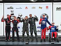 #54 JDC-Miller MotorSports Audi RS3 LMS TCR, TCR: Michael Johnson, Stephen Simpson, #61 Road Shagger Racing Audi RS3 LMS TCR, TCR: Gavin Ernstone, Jon Morley, #32 FAST MD Audi RS3 LMS TCR, TCR: William Tally, podium