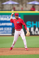 Clearwater Threshers third baseman Kervin Pichardo (47) throws to first base during a game against the Fort Myers Mighty Mussels on July 29, 2021 at BayCare Ballpark in Clearwater, Florida.  (Mike Janes/Four Seam Images)