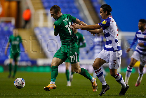 4th November 2020; Madejski Stadium, Reading, Berkshire, England; English Football League Championship Football, Reading versus Preston North End; Emil Riis Jakobsen of Preston North End pulled back by Tom McIntyre of Reading