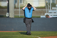 Home plate umpire Adam Ohlmann during the Southern Collegiate Baseball League game between the Carolina Venom and the Mooresville Spinners at Moor Park on June 22, 2020 in Mooresville, NC.  The Spinners defeated the Venom 7-2. (Brian Westerholt/Four Seam Images)