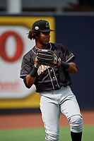 Jupiter Hammerheads Jerar Encarnacion (45) during warmups before a Florida State League game against the Tampa Tarpons on July 26, 2019 at George M. Steinbrenner Field in Tampa, Florida.  Tampa defeated Jupiter 2-0 in the first game of a doubleheader.  (Mike Janes/Four Seam Images)