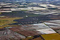 aerial photograph of rice farming and irrigation in the California Central Valley during winter
