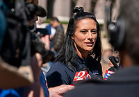 ORLANDO, FL - FEBRUARY 28: Ali Krieger #11 of the United States talks with the media following a SheBelieves press conference at City Hall on February 28, 2020 in Orlando, Florida.
