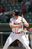 First baseman Triston Casas (38) of the Greenville Drive bats in a game against the Hickory Crawdads on Tuesday, April 30, 2019, at Fluor Field at the West End in Greenville, South Carolina. Hickory won, 5-4. (Tom Priddy/Four Seam Images)