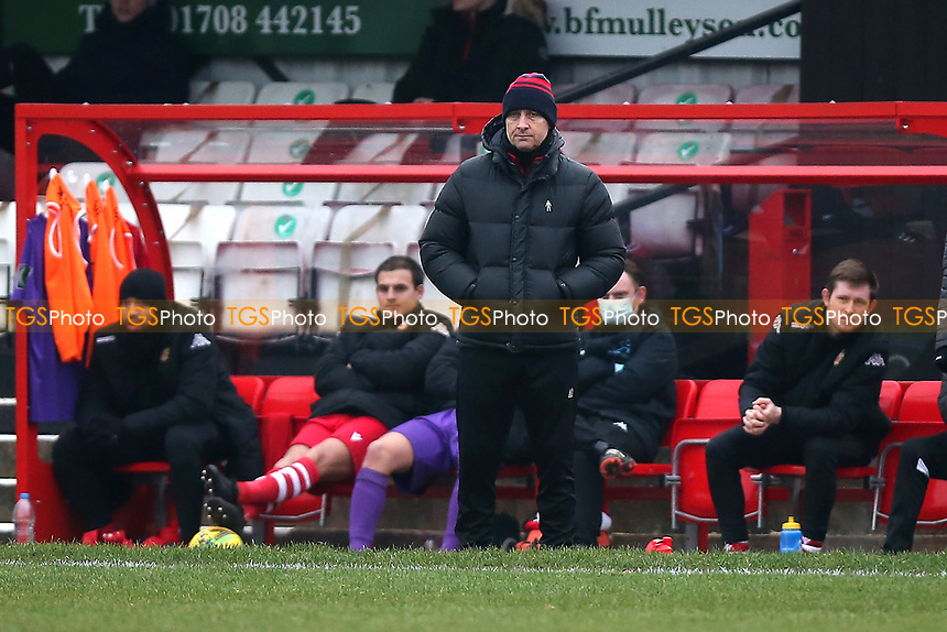 Hornchurch manager Mark Stimson during Hornchurch vs Maidstone United, Buildbase FA Trophy Football at Hornchurch Stadium on 6th February 2021