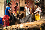 Workers drying leather in a factory by Azim Khan Ronnie