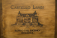 "Switzerland. Canton Ticino. Besazio. ""Castello Luigi"". Wood boxes of Merlot red wine by Luigi Zanini, wine grower and producer.  © 2008 Didier Ruef"