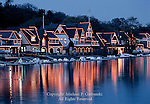 The lights of Boat House Row reflecting in the Schuylkill River in Philadelphia, Pennsylvania