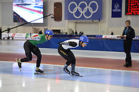 SPEEDSKATING: SALT LAKE CITY: Utah Olympic Oval, 10-03-2019, ISU World Cup Finals, Mass Start Men, #14 Vitaly Mikhailov (BLR), #12 Ryosuke Tsuchiya (JPN), ©Martin de Jong