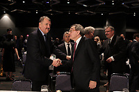 Fomer presidents Leon-Paul Rousseau  talk with <br /> Michael Sabia (M) after he adress the Canadian club of Montreal on the occasion of la Caisse de depot et placement du Quebec's 50th anniversary,May 27, 2015<br /> <br /> Photo :Agence Quebec Presse - Pierre Roussel