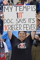 Chicago, IL - Saturday Sept. 24, 2016: Washington Spirit fan after a regular season National Women's Soccer League (NWSL) match between the Chicago Red Stars and the Washington Spirit at Toyota Park.