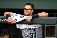 Left fielder T.J. Bennett (33) of the Augusta GreenJackets in a game against the Greenville Drive on Thursday, May 17, 2018, at Fluor Field at the West End in Greenville, South Carolina. Augusta won, 2-1. (Tom Priddy/Four Seam Images)