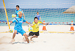 (L-R) Takasuke Goto, Tetsuji Sugita (JPN),<br /> APRIL 20, 2014 - Beach Soccer :<br /> Beach Soccer Japan national team candidates training camp in Okinawa, Japan. (Photo by Wataru Kohayakawa/AFLO)