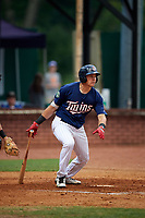 Elizabethton Twins designated hitter Trevor Larnach (9) grounds out during a game against the Bristol Pirates on July 29, 2018 at Joe O'Brien Field in Elizabethton, Tennessee.  Bristol defeated Elizabethton 7-4.  (Mike Janes/Four Seam Images)