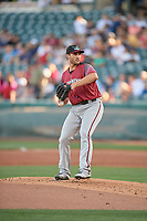 Sacramento River Cats starting pitcher Brandon Beachy (35) delivers a pitch to the plate against the Salt Lake Bees at Smith's Ballpark on July 18, 2019 in Salt Lake City, Utah. The Bees defeated the River Cats 9-6. (Stephen Smith/Four Seam Images)