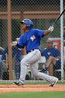 GCL Blue Jays second baseman Deiferson Barreto (13) at bat during a game against the GCL Tigers on June 30, 2014 at Tigertown in Lakeland, Florida.  GCL Blue Jays defeated the GCL Tigers 3-1.  (Mike Janes/Four Seam Images)