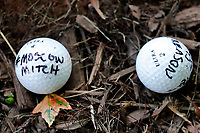 Golf balls left by a protester is seen outside the Trump National Golf Club Washington DC in Sterling, Virginia while United States President Donald J. Trump plays golf on June 21, 2020. <br /> Credit: Yuri Gripas / Pool via CNP/AdMedia