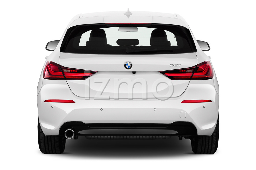 Straight rear view of 2020 BMW 1-Series Sport 5 Door Hatchback Rear View  stock images