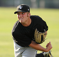 July 22, 2009: RHP Trey Delk of the Bristol White Sox, rookie Appalachian League affiliate of the Chicago White Sox, pitched 7 no-hit innings against the Burlington Royals at Burlington Athletic Stadium in Burlington, N.C. Delk was a 29th round pick from Clemson. Photo by:  Tom Priddy/Four Seam Images