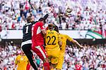 Amer Shafi of Jordan (L) saves the ball during the AFC Asian Cup UAE 2019 Group B match between Australia (AUS) and Jordan (JOR) at Hazza Bin Zayed Stadium on 06 January 2019 in Al Ain, United Arab Emirates. Photo by Marcio Rodrigo Machado / Power Sport Images