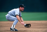 OAKLAND, CA - Wade Boggs of the Tampa Bay Devil Rays plays defense at third base during a game against the Oakland Athletics at the Oakland Coliseum in Oakland, California in 1998. Photo by Brad Mangin
