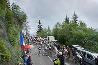 1st peloton (with race favourites) up the Montée de Bisanne (HC/1723m/12.4km/8.2%) led by Team Astana<br /> <br /> Stage 19:  Albertville › Saint-Gervais /Mont Blanc (146km)<br /> 103rd Tour de France 2016