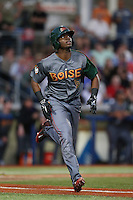 Terry McClure (5) of the Boise Hawks runs to first base during a game against the Hillsboro Hops at Ron Tonkin Field on August 21, 2015 in Hillsboro, Oregon. Boise defeated Hillsboro, 7-1. (Larry Goren/Four Seam Images)