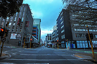Willis St at 8am during Level 4 lockdown for the COVID-19 pandemic in Wellington, New Zealand on Monday, 23 August 2021.