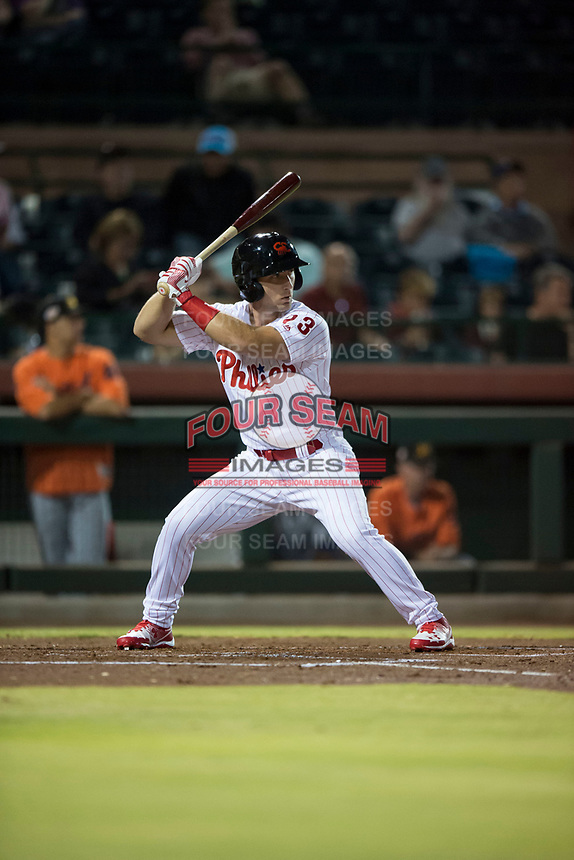 Scottsdale Scorpions right fielder Austin Listi (23), of the Philadelphia Phillies organization, at bat during an Arizona Fall League game against the Mesa Solar Sox on October 9, 2018 at Scottsdale Stadium in Scottsdale, Arizona. The Solar Sox defeated the Scorpions 4-3. (Zachary Lucy/Four Seam Images)