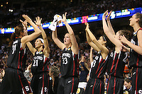 6 April 2008: Stanford Cardinal (L-R) Morgan Clyburn, Rosalyn Gold-Onwude, Jillian Harmon, Cissy Pierce, Hannah Donaghe, and Ashley Cimino during Stanford's 82-73 win against the Connecticut Huskies in the 2008 NCAA Division I Women's Basketball Final Four semifinal game at the St. Pete Times Forum Arena in Tampa Bay, FL.
