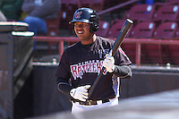 Wisconsin Timber Rattlers first baseman David Denson (13) waits on deck during a game against the Peoria Chiefs on April 25th, 2015 at Fox Cities Stadium in Appleton, Wisconsin.  Wisconsin defeated Peoria 2-0.  (Brad Krause/Four Seam Images)