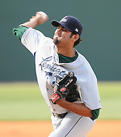 RHP Arcenio Leon (36) of the Lexington Legends, Class A affiliate of the Houston Astros, at a game against the Greenville Drive April 25, 2010, at Fluor Field at the West End in Greenville, S.C. Photo by: Tom Priddy/Four Seam Images