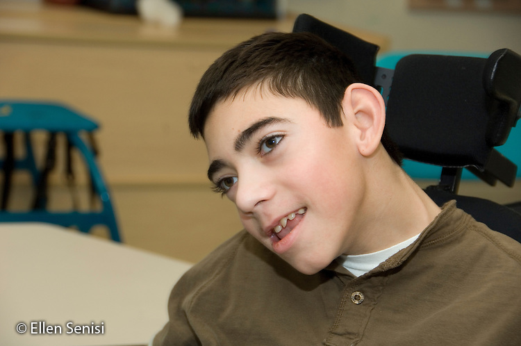 MR / Albany, NY.Langan School at Center for Disability Services .Ungraded private school which serves individuals with multiple disabilities.Portrait of a student. Boy: 11, cerebral palsy, expressive and receptive language delays.MR: Bro12.© Ellen B. Senisi