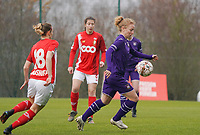 Charlotte Tison (20 Anderlecht) with the ball during a female soccer game between Standard Femina de Liege and RSC Anderlecht on the 9th matchday of the 2020 - 2021 season of Belgian Scooore Womens Super League , saturday 12 th of December 2020  in Angleur , Belgium . PHOTO SPORTPIX.BE   SPP   SEVIL OKTEM