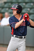 Center fielder Drew Waters (11) of the Rome Braves waits in the on-deck circle in a game against the Greenville Drive on Wednesday, July 11, 2018, at Fluor Field at the West End in Greenville, South Carolina. Greenville won, 6-4. (Tom Priddy/Four Seam Images)