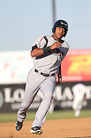 Gabriel Quintana (15) of the Lake Elsinore Storm runs the bases during a game against the Lancaster JetHawks at The Hanger on May 9, 2015 in Lancaster, California. Lancaster defeated Lake Elsinore, 3-1. (Larry Goren/Four Seam Images)