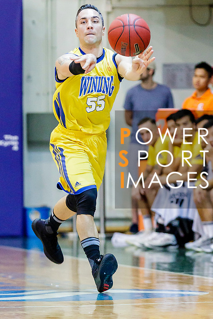 Kepkey Tyler Alexander #55 of Winling Basketball Club pass the ball during the Hong Kong Basketball League game between SCAA vs Winling at Southorn Stadium on June 19, 2018 in Hong Kong. Photo by Yu Chun Christopher Wong / Power Sport Images