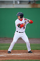 Potomac Nationals right fielder Rhett Wiseman (9) at bat during the first game of a doubleheader against the Salem Red Sox on May 13, 2017 at G. Richard Pfitzner Stadium in Woodbridge, Virginia.  Potomac defeated Salem 6-0.  (Mike Janes/Four Seam Images)